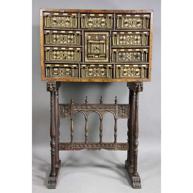 Spanish Baroque Giltwood and Bone Inlaid Vargueno For Sale - Image 11 of 11