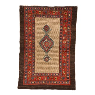 Early 20th Century Antique Camel Hair Rug - 3′ × 4′5″ For Sale