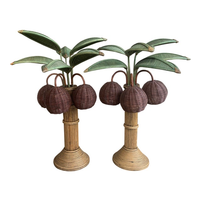 1960s Mario Lopez Palm Tree Table Lamps With Coconuts - a Pair For Sale