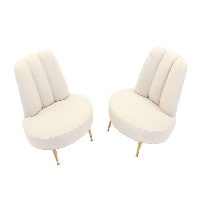 Newly Upholstered Mid-Century Modern Slipper Chairs For Sale