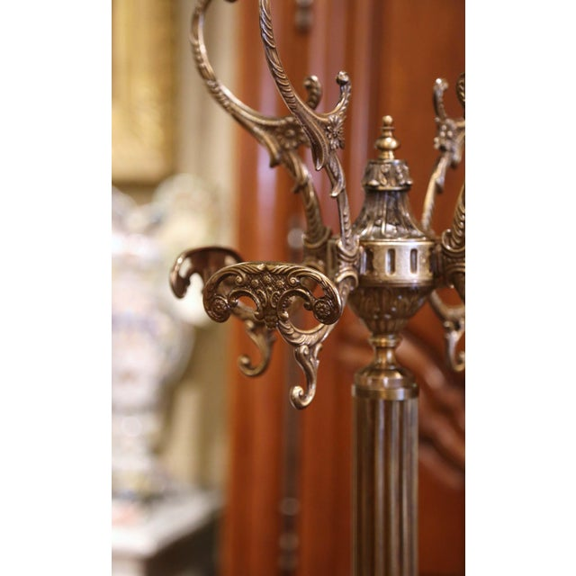 Early 20th Century Italian Gilt Brass Standing Hall Tree With Swivel Top For Sale - Image 4 of 11
