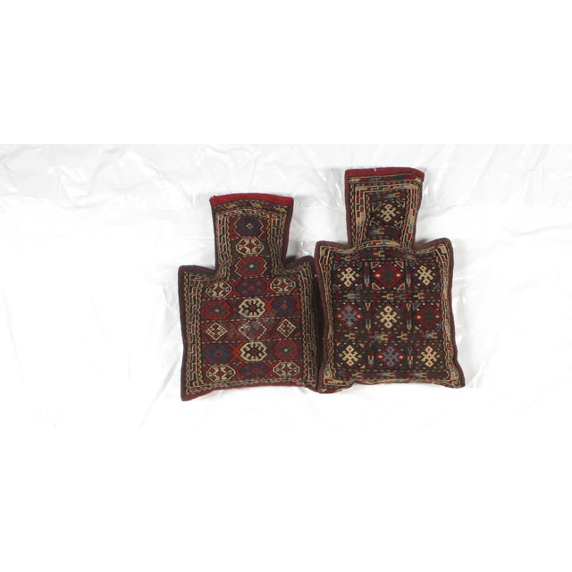 Pillows with Antique Soumak Rug Fragment - Image 2 of 3