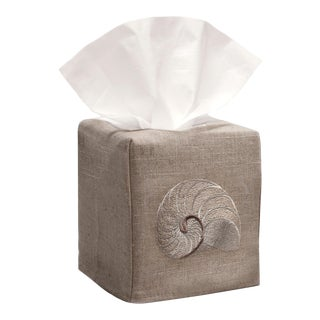 Beige Striped Nautilus Tissue Box Cover in Natural Linen & Cotton, Embroidered For Sale