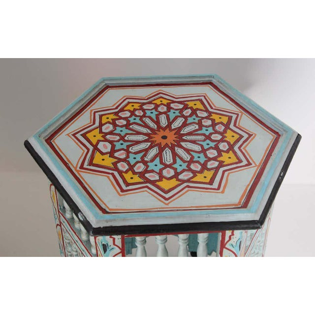 Moroccan Hand Painted Ivory Tables - a Pair For Sale In Los Angeles - Image 6 of 13