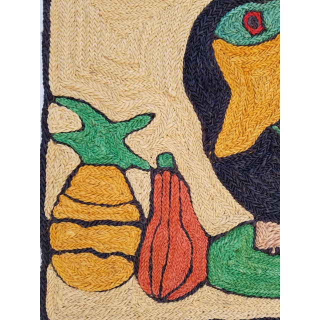 Fiber 1970s Mid-Century Modern Hand-Woven Sign of Alexander Calder Era Toucan With Fruit Tapestry For Sale - Image 7 of 9