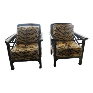 Amy Howard Chippendale Chinoiserie Chairs Upholstered in Scalamandre Tiger Velvet - a Pair For Sale