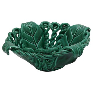 Mid-Century French Majolica Leaf Bowl For Sale
