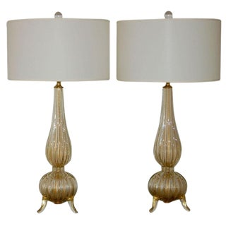 Murano Glass Three Footed Table Lamps Gold For Sale