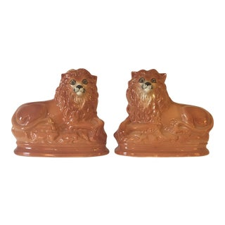 Staffordshire Lions Glass Eyes - A Pair