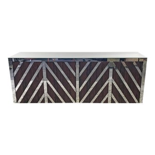 Rosewood and Mirrored Credenza For Sale