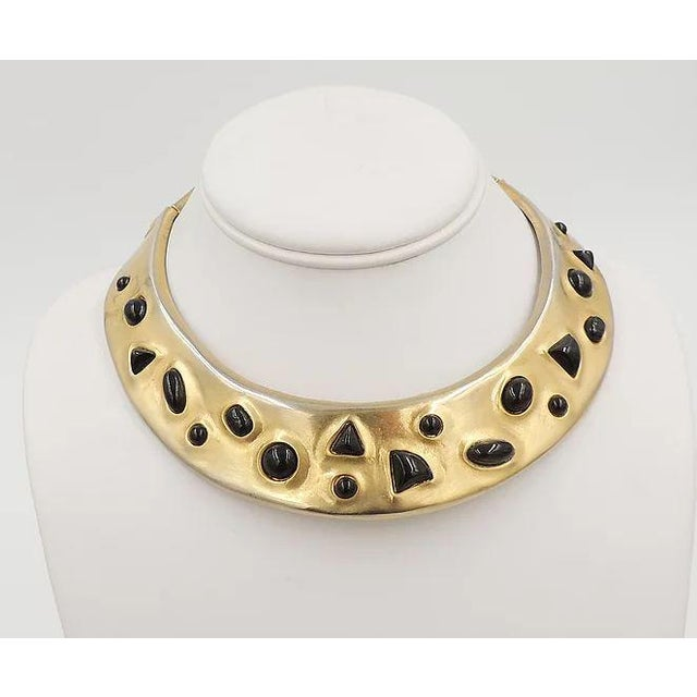 Gemstone 1980s Les Bernard Faux-Onyx Cabochon Collar Necklace For Sale - Image 7 of 9