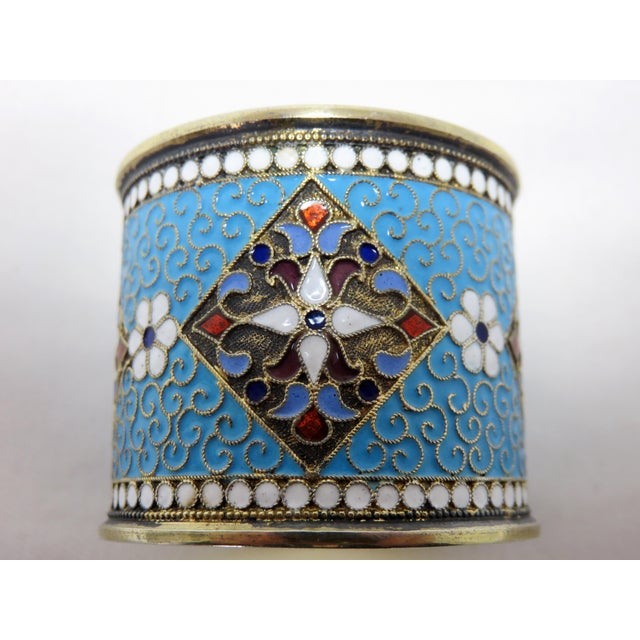 Late 19th Century Antique Russian Silver Enameled Napkin Ring For Sale - Image 5 of 7