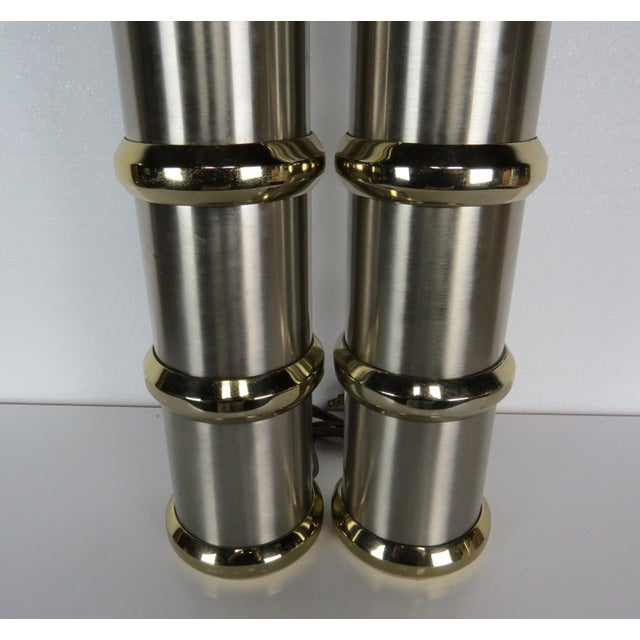 Vintage Mid-Century Modern Chrome & Brass Cylinder Lamps - a Pair For Sale - Image 9 of 13
