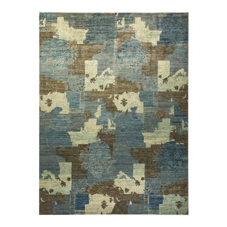 """Eclectic, One-Of-A-Kind Hand-Knotted Area Rug - Light Blue, 10' 4"""" X 13' 9"""" For Sale"""