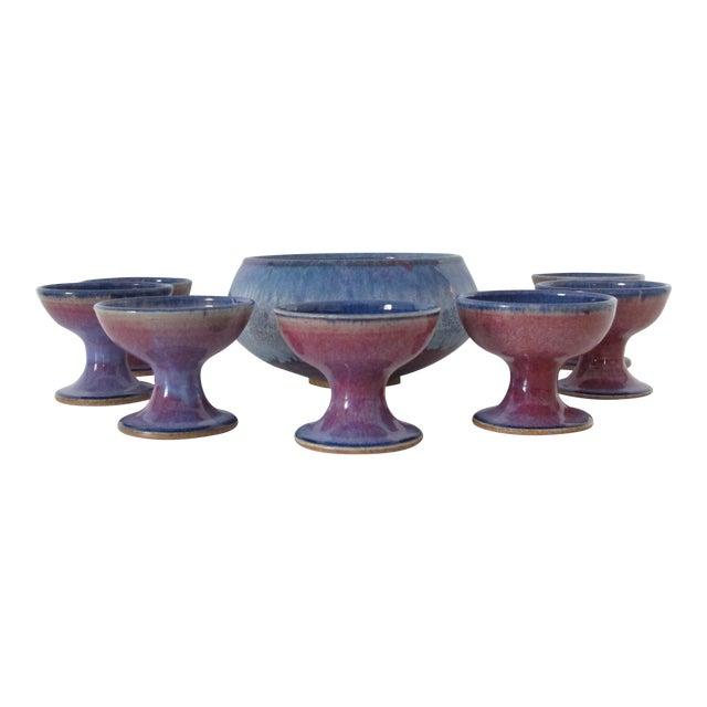 Studio Ceramic Punch Bowl Set - Set of 8 - Image 1 of 9