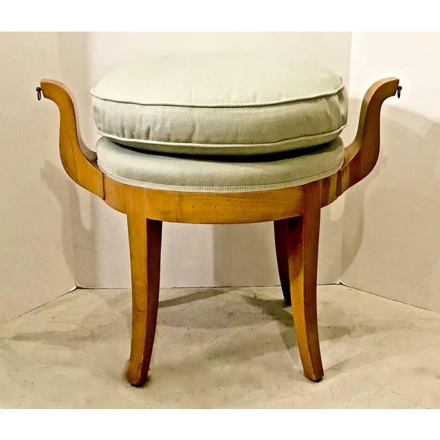 French Deco Vanity Stool in Sycamore For Sale - Image 4 of 7