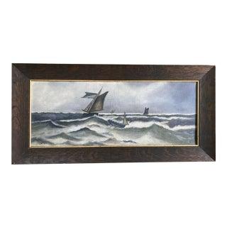 1930s Vintage Ocean Storm Seascape Oil on Canvas Painting For Sale