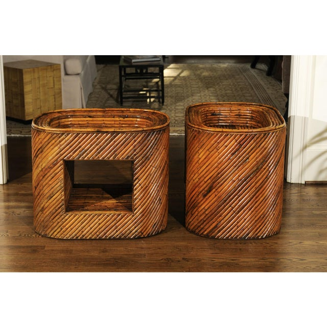 1970s Exceptional Restored Pair of Bamboo Display End Tables, circa 1975 For Sale - Image 5 of 13