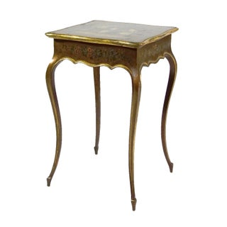 Adorable Side Table With Flowers & Golden Accents
