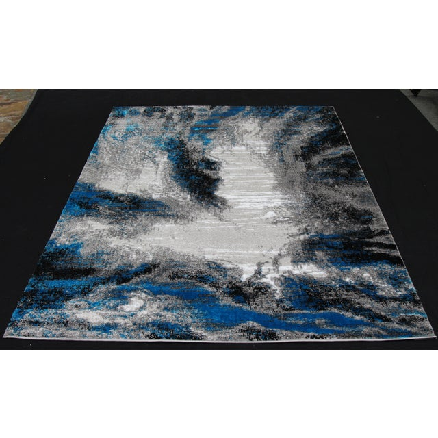 Black & Blue Abstract Rug - 8' x 10' - Image 3 of 3