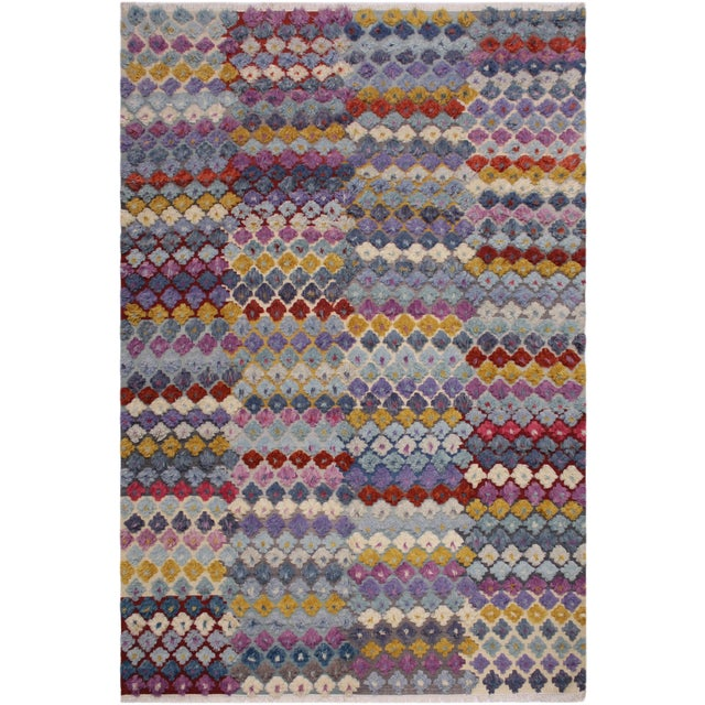 Shabby Chic Moroccan High-Low Pile Albertin Wool Rug - 8′6″ × 10′2″ For Sale