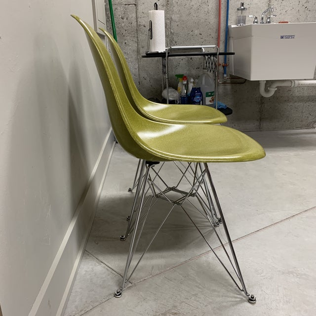 Modern Mid-Century Modern Citron Modernica Shell Side Chairs - a Pair For Sale - Image 3 of 10