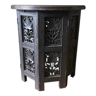 1960s Anglo-Indian Hand-Carved Solid Wood Octagonal Table For Sale