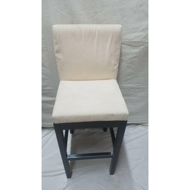 2000 - 2009 Cjc Concepta Barcelona Bar Stool Ivory Fabric Wenge Wood Chair For Sale - Image 5 of 11