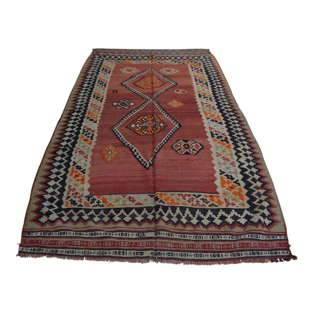 Semi Antique Persian Handwoven Kilim Wool Rug - 4′8″ × 8′5″ For Sale