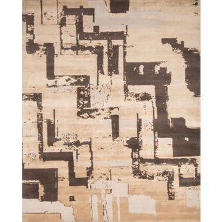 Art Deco Rugs & Kilim Graphic Geometric Pattern Hand Knotted Rug For Sale
