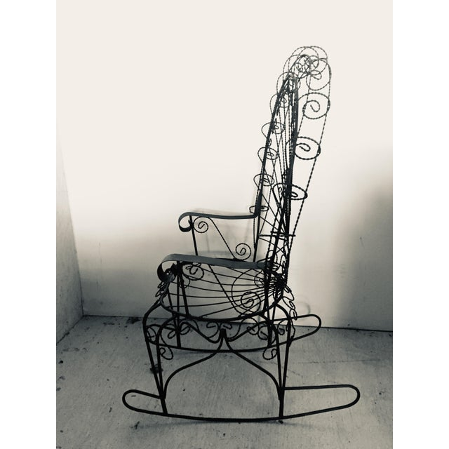 Mid-Century Modern Wrought Iron Peacock Rocking Chair For Sale - Image 3 of 11