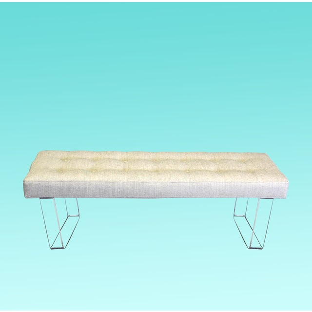 Mid-Century Modern 60 Inches Infinity Style Chenille & Lucite Bench For Sale - Image 3 of 3