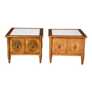 Pair Vintage Mid Century Modern Travertine & Walnut End Tables Bedside Cabinets For Sale