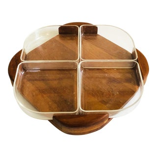 Mid Century Danish Teak and Acrylic Tray For Sale