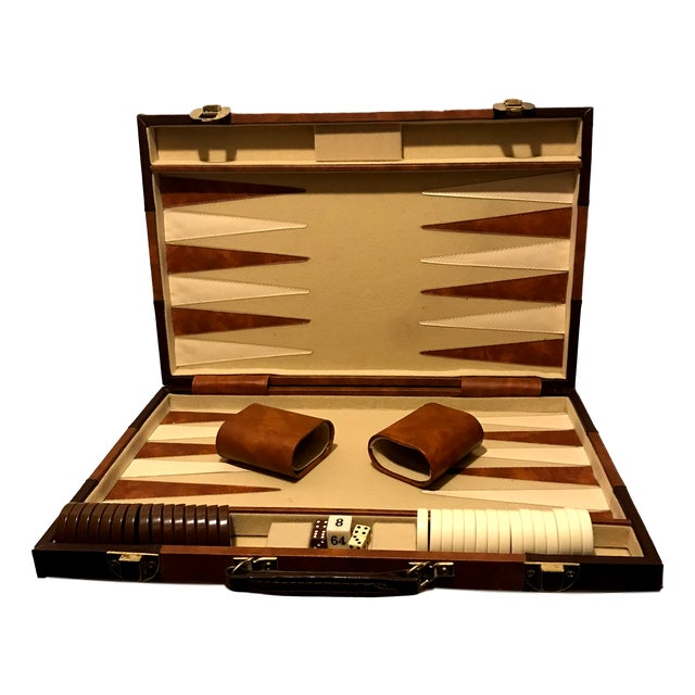 Leatherette Vintage Mid Century Burl Backgammon Game Board & Case- 37 Pieces For Sale - Image 7 of 7