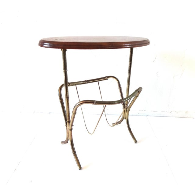 Vintage Mid-Century Modern Brass Faux Bamboo Side Table & Magazine Rack For Sale In San Francisco - Image 6 of 10