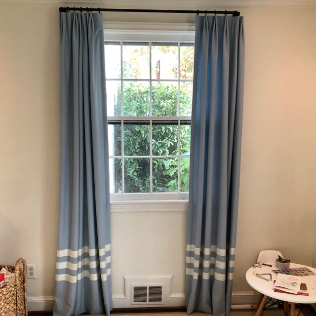 Schumacher Schumacher Blue With White Trim Curtain Panels - a Pair For Sale - Image 4 of 9