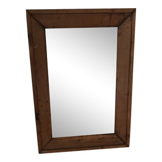 Vintage Rustic Pine Wall Mirror For Sale