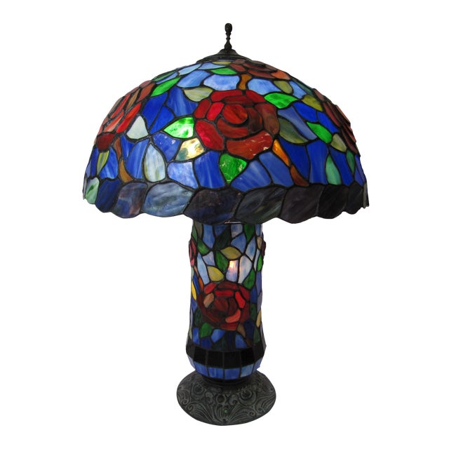 Tiffany Style Stained Glass Table Lamp - Image 1 of 5