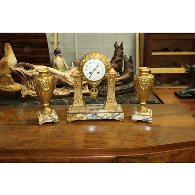 1940s French Art Deco Gilt Clock Garniture Set Signed G. Limousin - 3 Pc. Set For Sale - Image 11 of 11