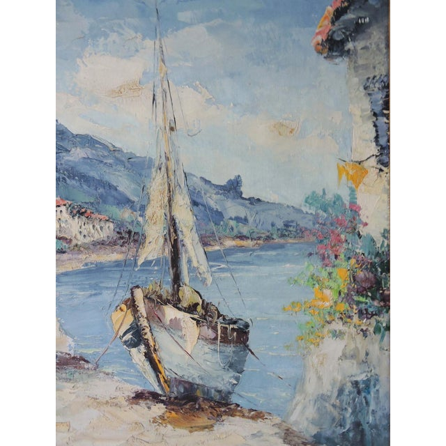 """Italian """"The Island of Capri"""", Italy by Giovanni Camprio, Framed Oil on Canvas Painting (Mediterranean) For Sale - Image 3 of 7"""