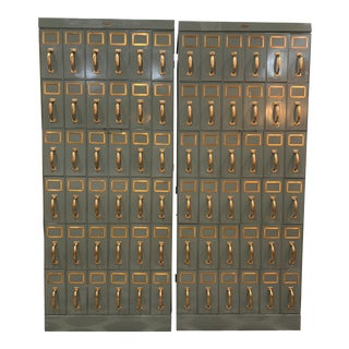 Mid 20th Century Vintage Industrial Filing Cabinets 36 Drawers-a Pair For Sale