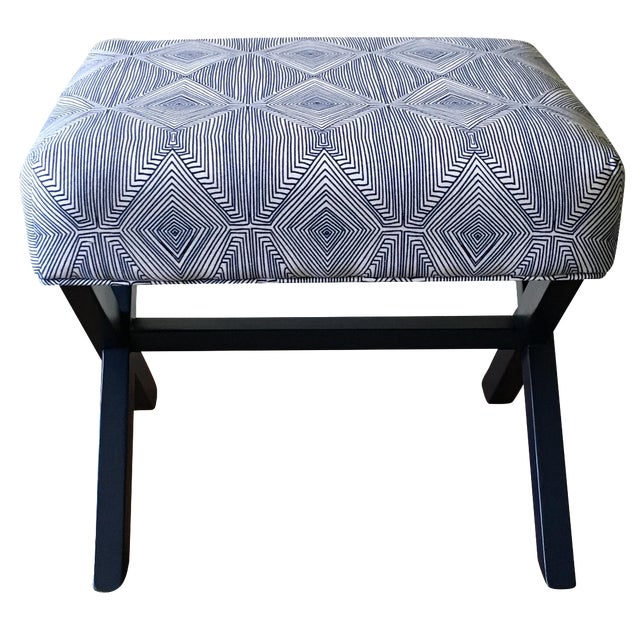 Navy & White X-Leg Bench - Image 1 of 5