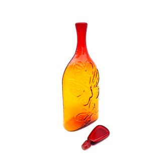 "Blenko|• 22"" #6527 Tangerine Blown Glass Decanter 