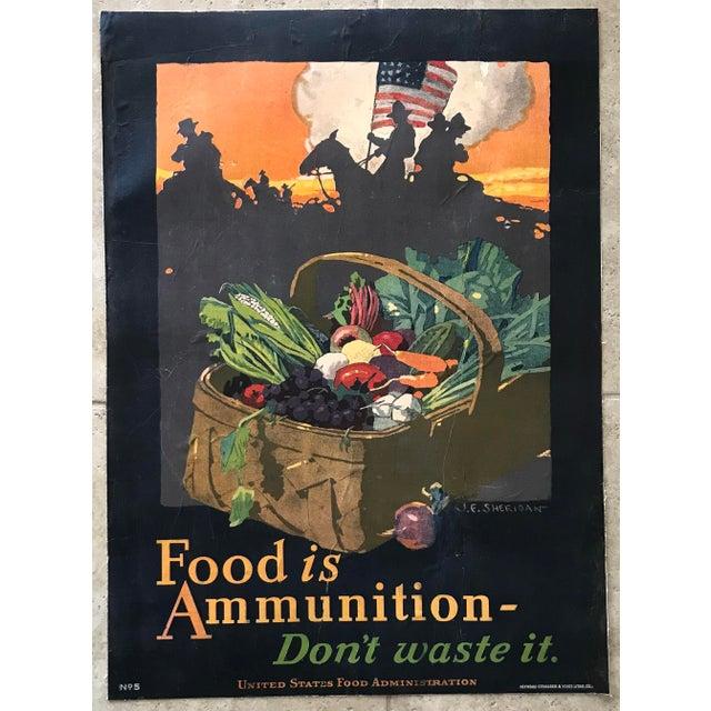 "Black 1917 ""Food Is Ammunition Don't Waste It"" JE Sheridan Poster For Sale - Image 8 of 8"