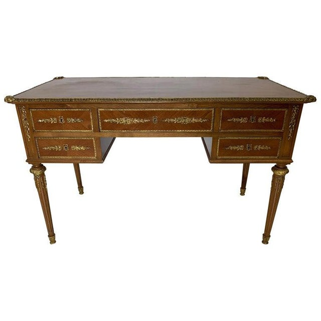 French Style Mahogany and Satinwood Writing Desk With Ormolu For Sale - Image 13 of 13