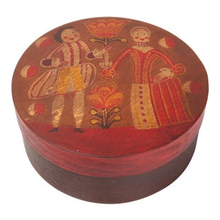 19th Century Antique Ukrainian Hand Painted Wedding Box