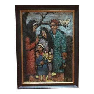 Original 1960s Contemporary Oil on Canvas by Egyptian Artist Abdul Wahab Morsi For Sale