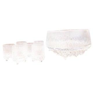 Tapio Wirkkala for Littala Crystal Shot Glasses and Ice Bowl - 7 Pc. Set For Sale