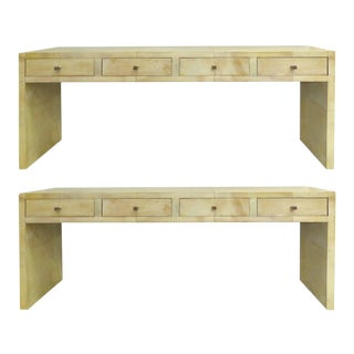 Goatskin Clad Wood Four-Drawer Console Tables with Hammered Copper Handles For Sale